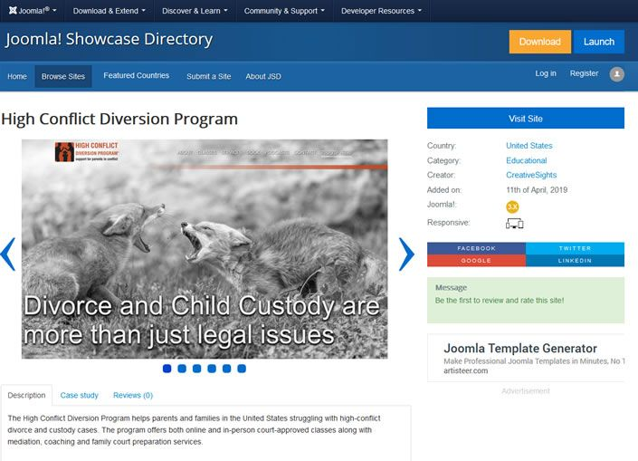 Joomla! Showcase - High Conflict Diversion Program